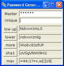 password generator 'unique'